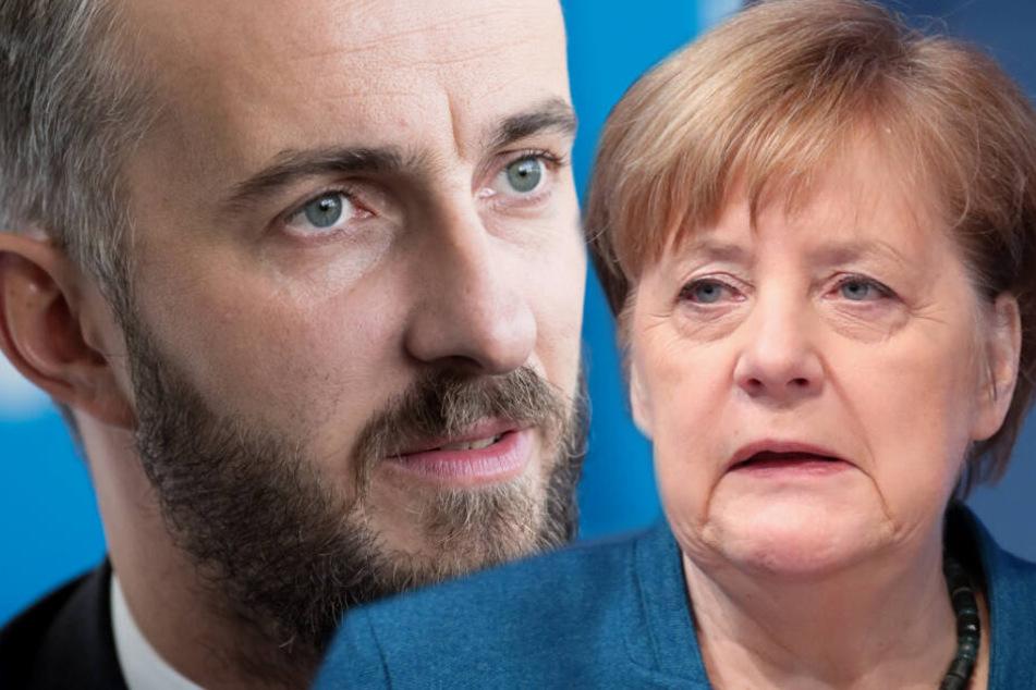 Jan Böhmermann will gerichtlich gegen Angela Merkel vorgehen. (Bildmontage)