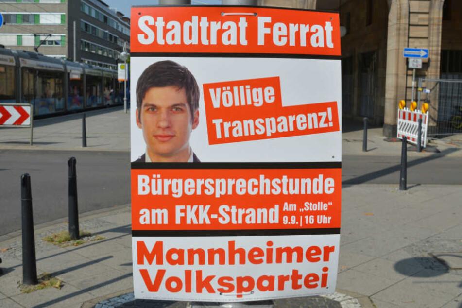 Völlige Transparenz: Damit wirbt der Jungpolitiker auf dem Plakat zur Bürgersprechstunde.