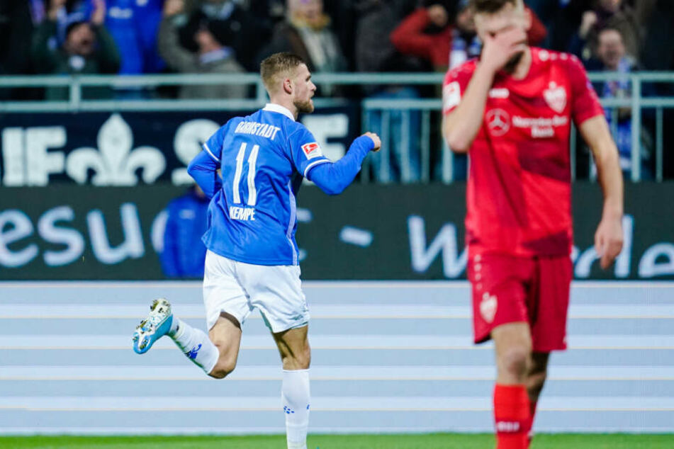Darmstadts Tobias Kempe bejubelt seinen Treffer zum 1:0 in der 20. Minute.