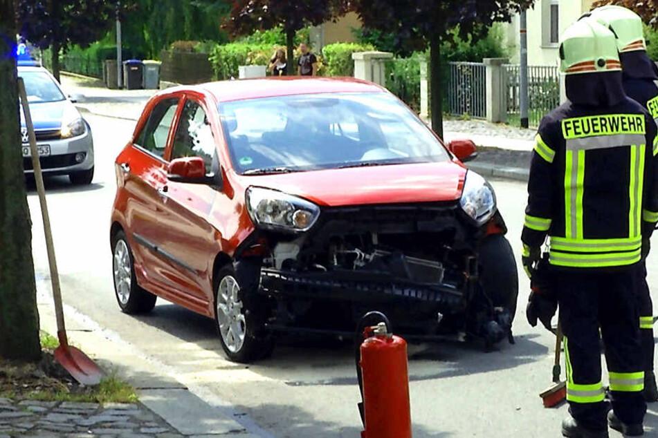 An einem Crash in der Oberlausitz war auch ein Kia beteiligt, der beschädigt wurde.