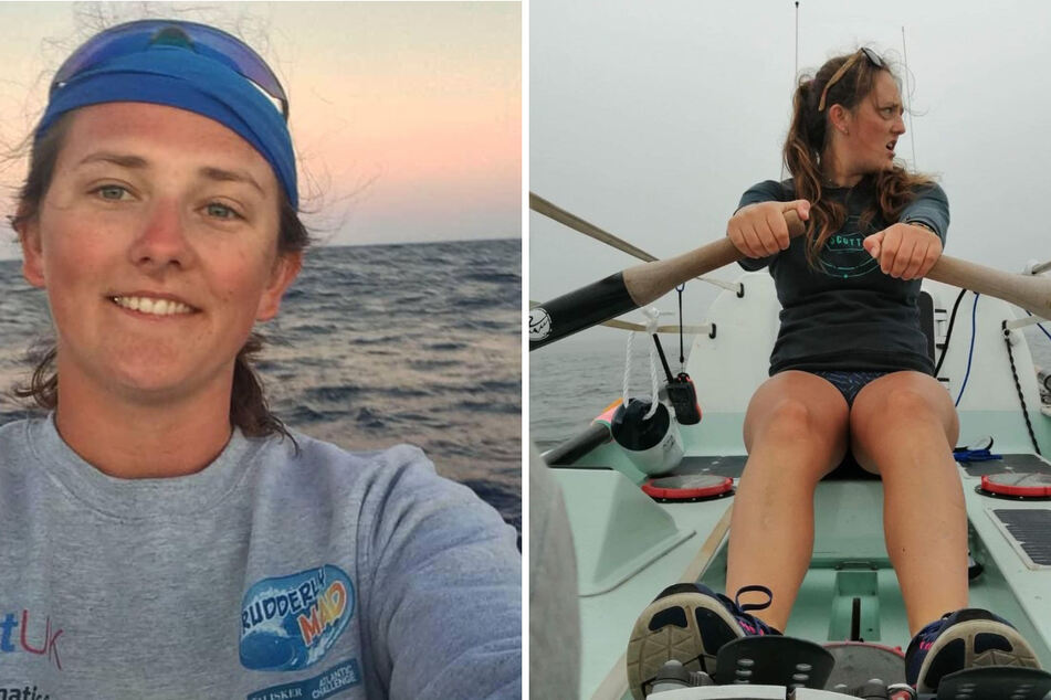 The UK's Jasmine Harrison (21) has set a new world record in women's transatlantic solo rowing (collage).