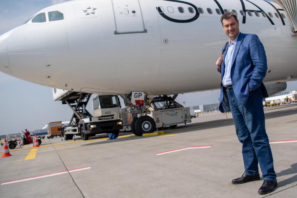 Markus Söder (CSU) startet auf dem Flughafen Frankfurt am Main zu seiner erste große Auslandsreise nach Äthiopien.