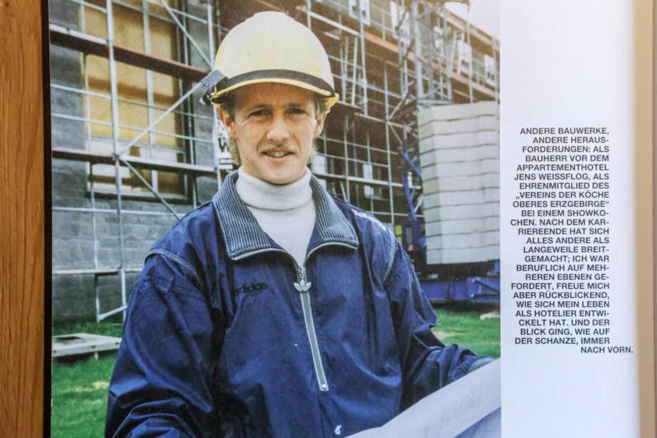 """20 Jahre Hotelier! Jens Weißflog  als junger """"Hüpfer"""" bei den Bauarbeiten zu seinem Hotel."""