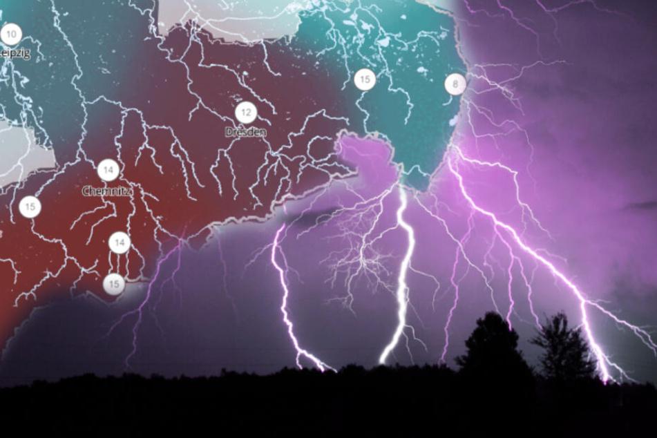 Da rollt was zu auf Sachsen! Starkregen und Hagel in Sicht