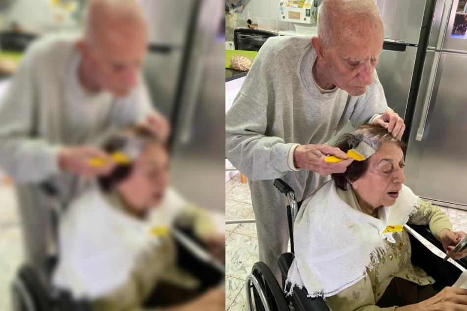 92-jähriger färbt seiner Frau die Haare, weil die Friseursalons zu sind