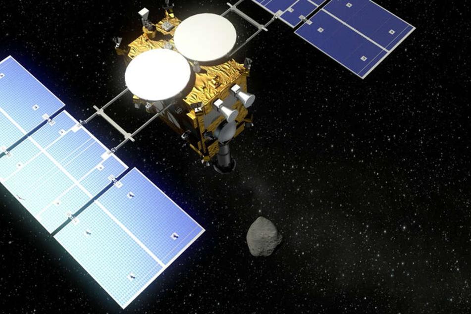 Der Asteroidenlander MASCOT fliegt mit der japanischen Raumsonde Hayabusa2 (undatierte Visualisierung) zum Asteroiden 1999 JU 3. Solche Sonden können Daten über Himmelskörper einsammeln.