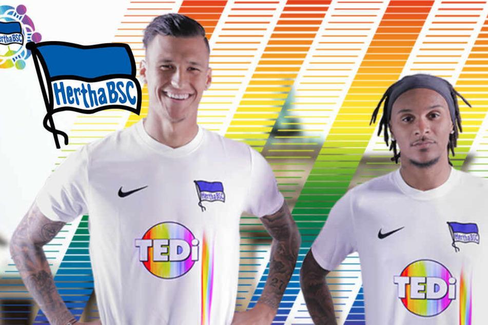 Als Zeichen für Toleranz: Hertha spielt in Trikots mit Regenbogen-Farben