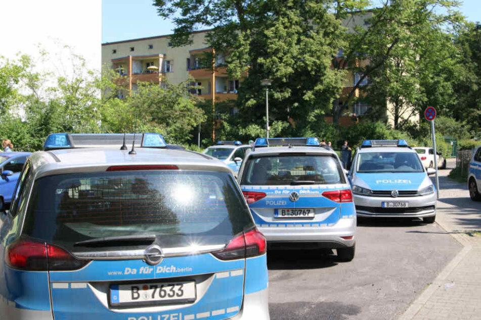 Etliche Polizei-Autos fuhren in der Willi-Sänger-Straße vor.