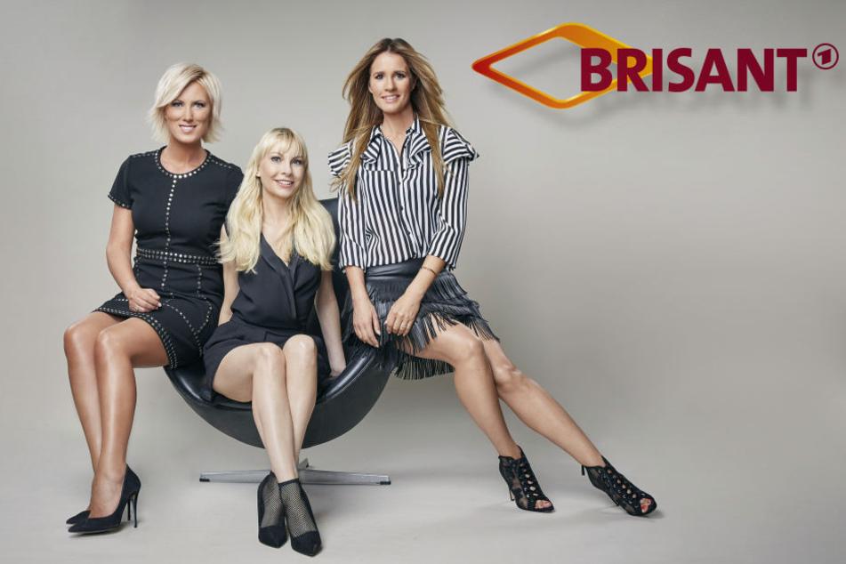 Das Brisant-Team: Die Moderatorinnen Kamilla Senjo und Mareile Höppner (r.) sowie Quasselstrippe und Promi-Reporterin Susanne Klehn (M.).