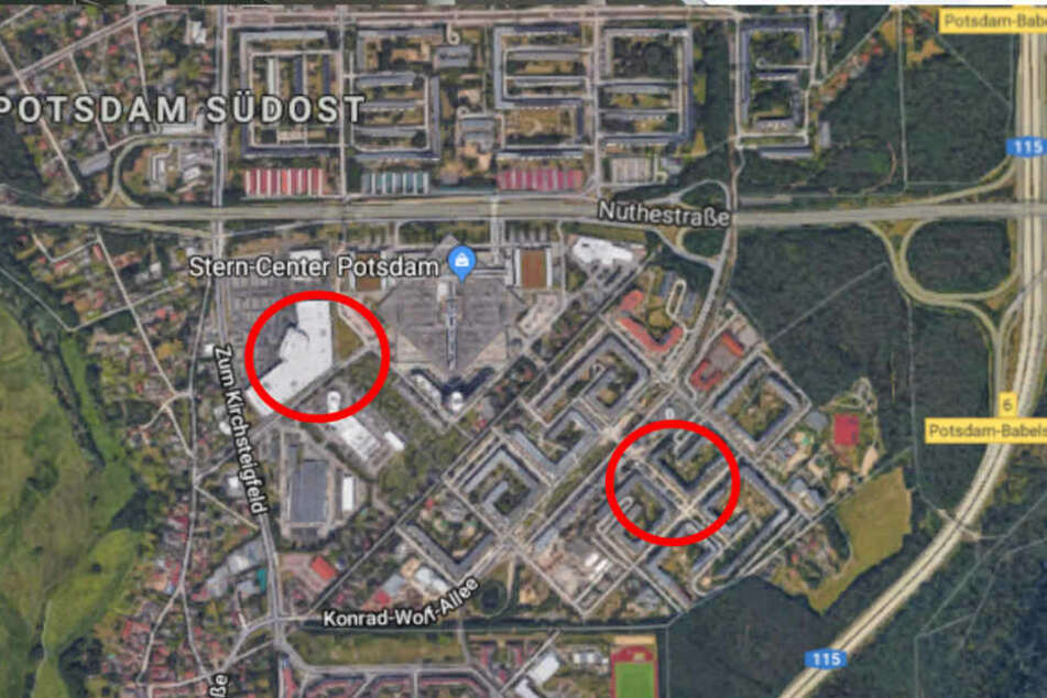 Nur einen knappen Kilometer liegt das Möbelhaus (links) vom Fundort des Mädchens (rechts) entfernt.