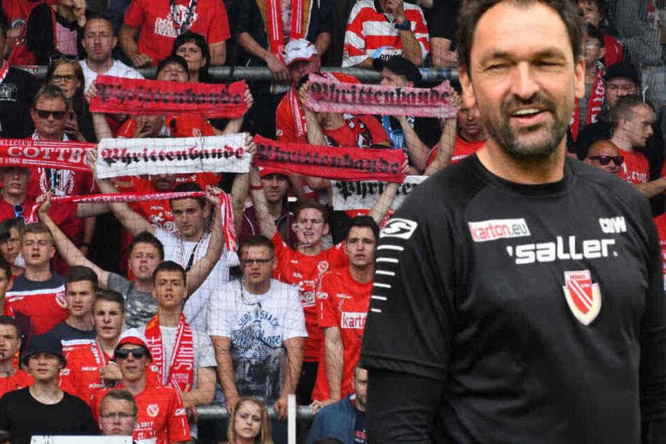 Energie-Trainer Claus-Dieter Wollitz (53) kassierte die erste Niederlage. (Bildmontage)