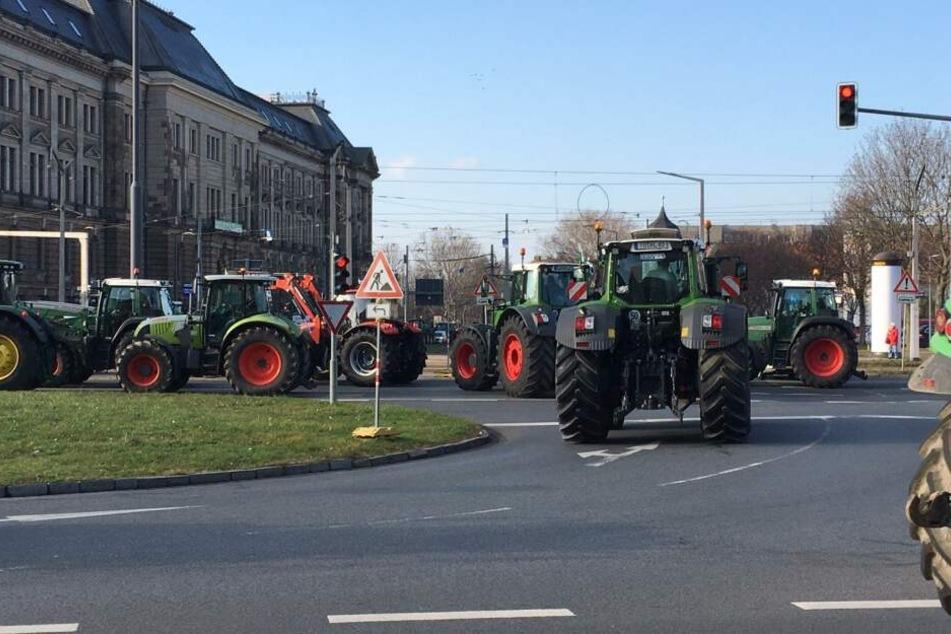 Traktoren-Blockade in Dresden: So lief die Demo der Bauern