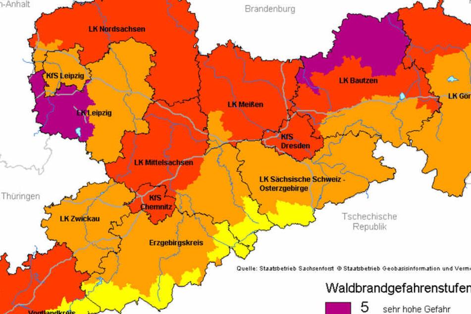 In den meisten Teilen Sachsens gelten aktuell die Waldbrandwanrstufen drei und vier, in Nordsachsen teilweise sogar die fünf.