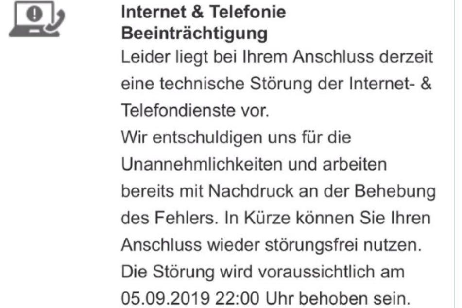 Der Screenshot zeigt, dass Vodafone selbst eine mögliche Störung bis Donnerstagabend, 22 Uhr einräumt.