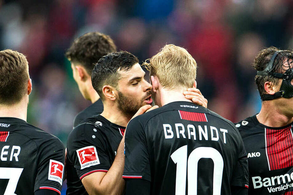 Jubel bei Bayer 04 über den Heimsieg und ein Tor von Leon Bailey (nicht auf dem Foto).