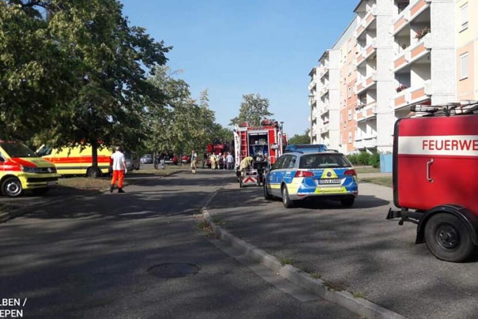 Großeinsatz in der Delitzscher Loberaue: Währenddessen eine 17-Jährige ihren Sohn aus dem Kindergarten holte, brannte es in ihrer Wohnung.