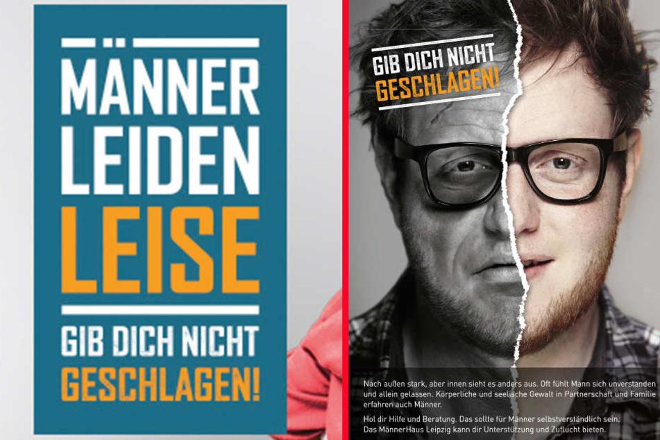 """Plakate der Kampagne """"Mann, gib dich nicht geschlagen"""" der Landesfachstelle Männerarbeit Sachsen."""
