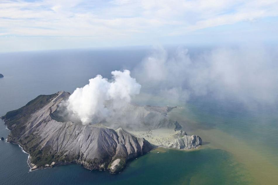 White Island nach einem Vulkanausbruch.