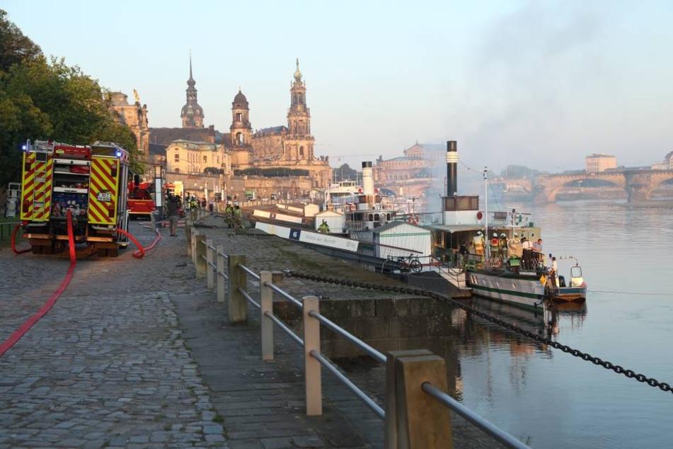 Mehrere Einsatzwagen der Feuerwehr und Polizei eilten am Donnerstagmorgen ans Elbufer in Dresden.