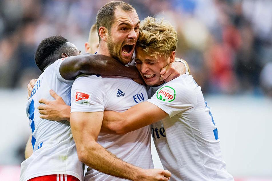 Der HSV um Pierre-Michel Lasogga hatte in der Hinrunde oft Grund zum Jubeln.