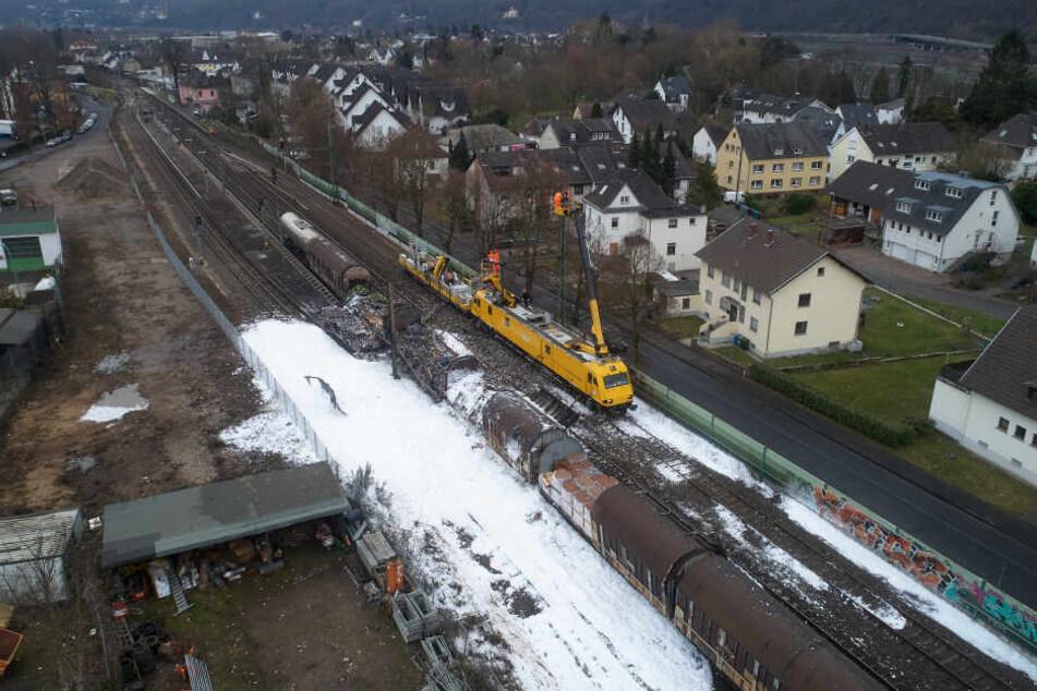 Der Unglücksort Unkel bei Bonn aus der Luft.