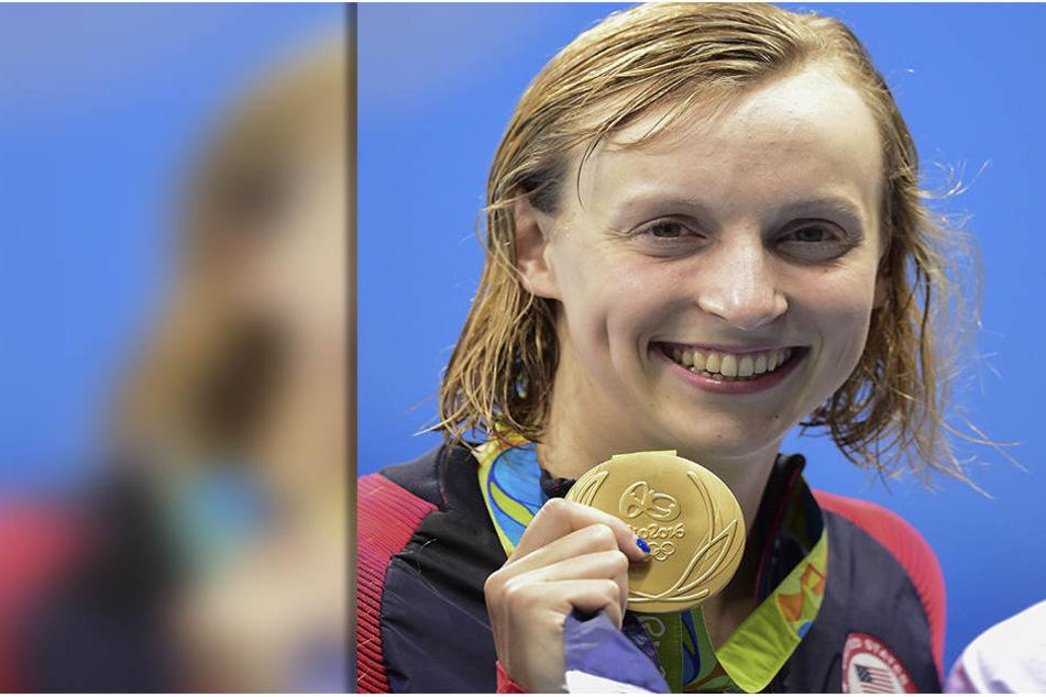 Katie Ledecky mit ihrer Goldmedaille über 200 Meter Freistil