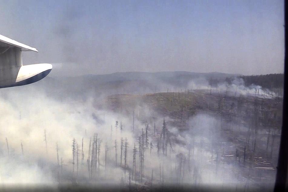 Russland, Boguchansky: Qualm steigt von einem Waldbrand in der Reghion Krasnojarsk auf. (Archivbild)