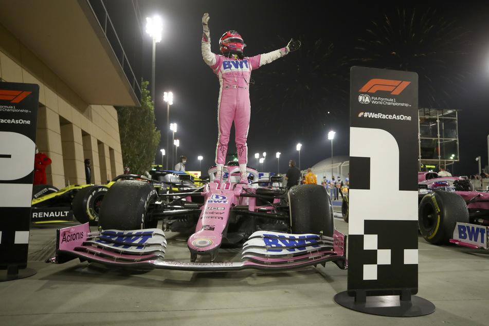 Sergio Perez (30) aus Mexiko vom Team Racing-Point holt sich den ersten Platz - das erste Mal in seinem 190. Rennen.