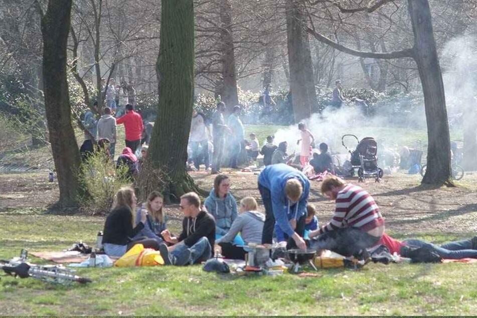Dichter Qualm über der Schloßteichinsel: Massen von Grill-Fans verwandelten das Areal in eine Räucherei.