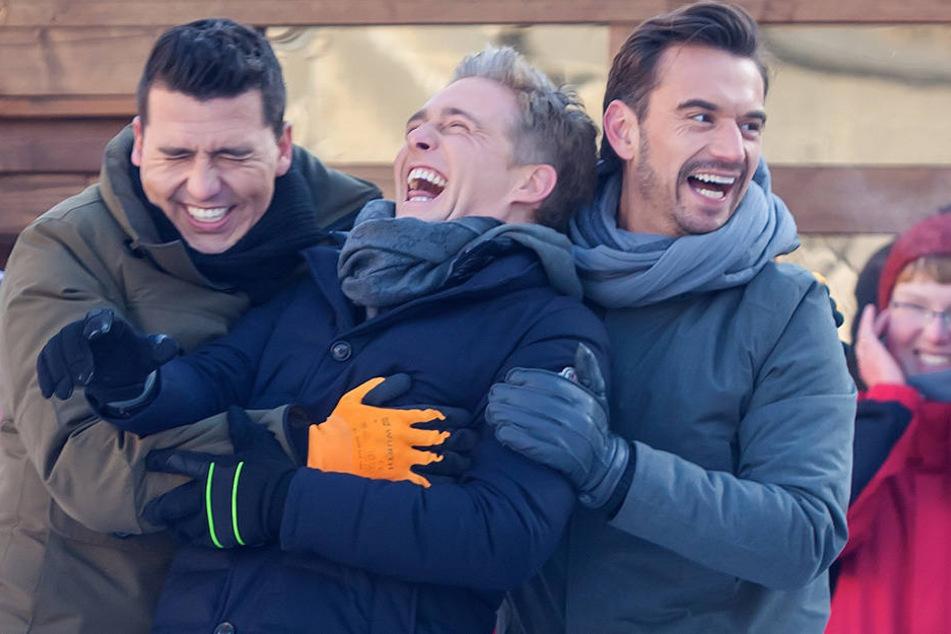 Haben immer was zu Lachen: Florian Silbereisen mit Jan Smit und Christoph de Bolle, von der Gruppe Klubbb3.