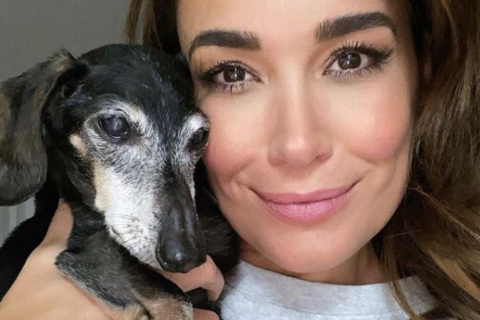 Jana Ina Zarrella (43) sorgt sich liebevoll um ihren alten Dackel Tyson.