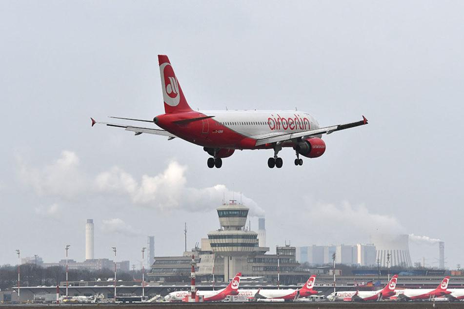 Eine Air-Berlin-Maschine im Landeanflug auf Flughafen Tegel - alles bald Geschichte?
