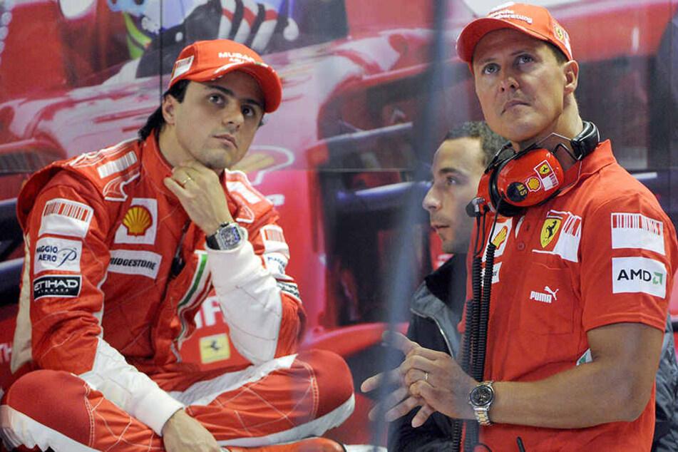 Michael Schumacher fuhr die längste Zeit seiner Karriere für Ferrari. Hier mit seinem Teamkollegen Felipe Massa (li.).