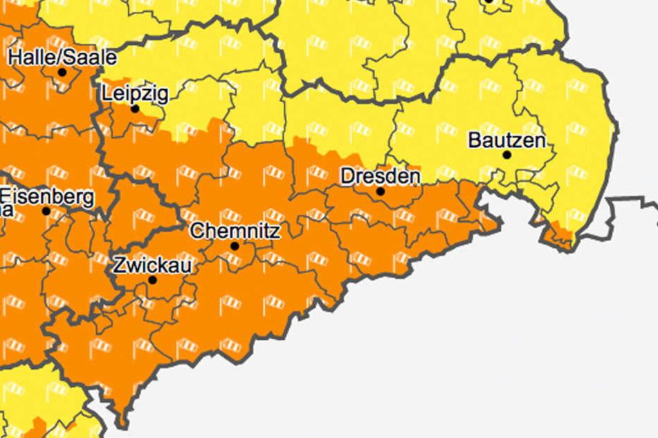 In weiten Teilen Sachsens warnt der Deutsche Wetterdienst vor Sturmböen.