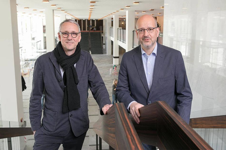 Bau-Chef Axel Walther (r.) und Architekt Stefan Schütz.