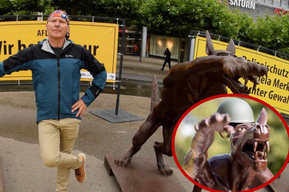 Dieser Künstler protestiert mit Hitlergruß-Wolfsskulptur vor AfD-Zentrale gegen die Partei