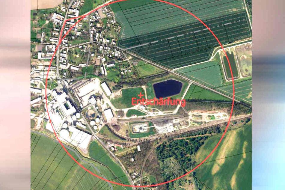Für die Sprengung einer in Mühlberg (Landkreis Elbe-Elbster) gefundenen Granate muss dieser Bereich vorübergehend evakuiert werden.
