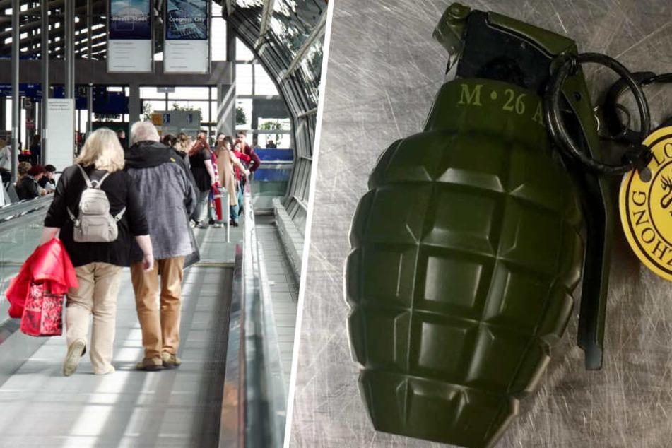 Alarm auf Flughafen: Handgranate in Koffer entdeckt
