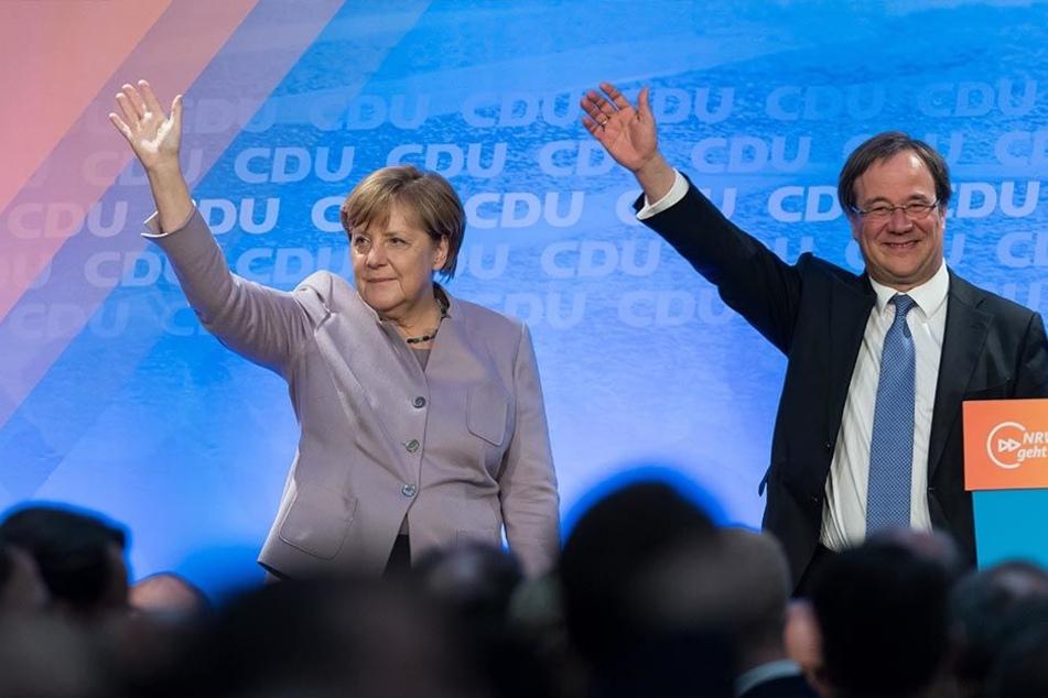 Gemeinsam mit CDU-Landeschef Armin Laschet machte die Kanzlerin Werbung für ihre CDU.