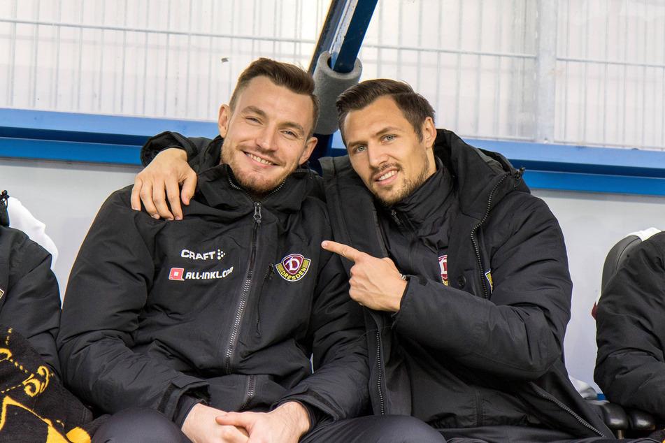 Florian Ballas (l.) und Sören Gonther zusammen auf der Dynamo-Bank. Seit der gemeinsamen Zeit in Dresden sind die beiden befreundet.