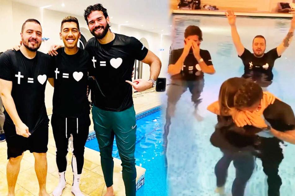 Roberto Firmino (Zweiter von links) ließ sich taufen.