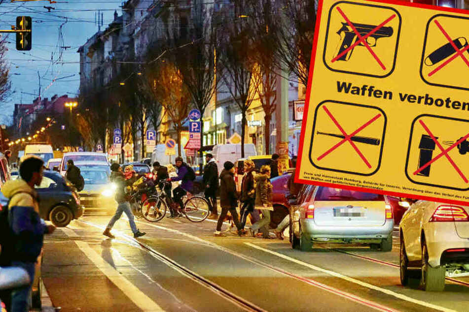 Die etwa zwei Kilometer lange Eisenbahnstraße gilt als kriminellste Magistrale Sachsens. Ab Montag ist hier das Mitführen von Waffen und scharfkantigen Werkzeugen verboten.