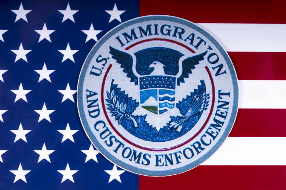 The US Immigration and Customs Enforcement agency crest (stock image).