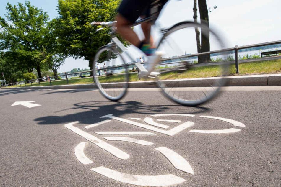 Ein Radfahrer ist auf einer Fahrradstraße an der Außenalster unterwegs.