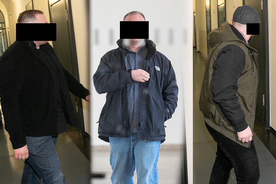 Danilo B. (36, Mitte) wurde von einem Video überführt. Ebenso Andreas D. (31, rechts) und Rene F. (25).