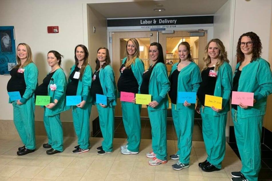9 auf einen Streich. Mehrere Krankenschwestern sind gleichzeitig schwanger.
