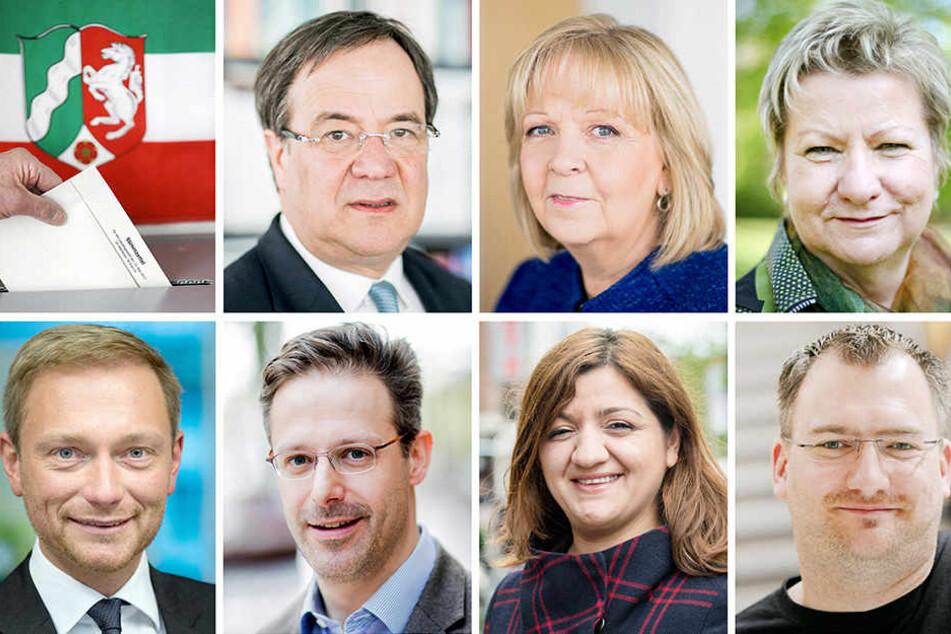 Armin Laschet (CDU), Hannelore Kraft (SPD), Sylvia Löhrmann (Grüne), Christian Lindner (FDP, unten, l-r), Marcus Pretzell (AfD) Özlem Alev Demirel (Linke) und Michele Marsching (Piraten)
