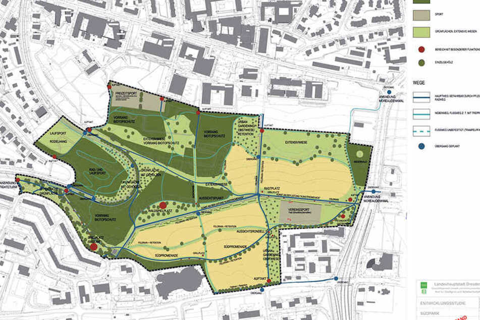 Dieser Plan im Entwurfsstand zeigt, wie sich Planer den fertigen Südpark vorstellen.