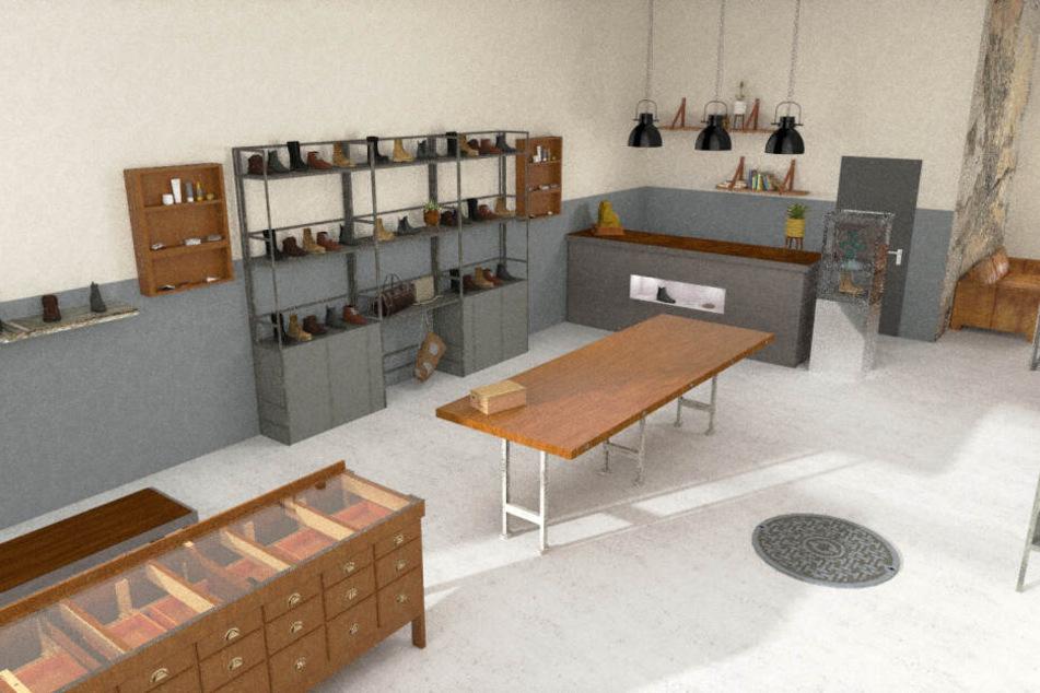 Für einen Leipziger Kunden entwarf Laura diese Ladeneinrichtung.