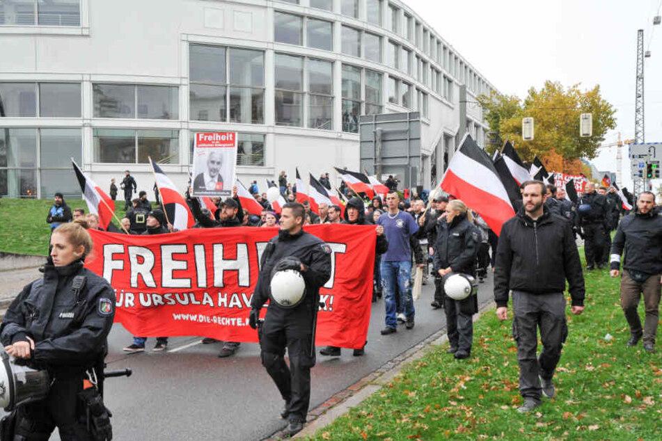 Die Rechten demonstrierten für die Freilassung von Ursula Haverbeck.